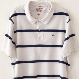 Dockers Mens Polo Shirt Size XL White Striped